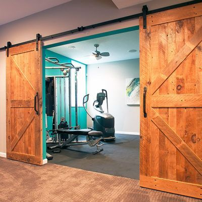 sliding barn doors over workout room